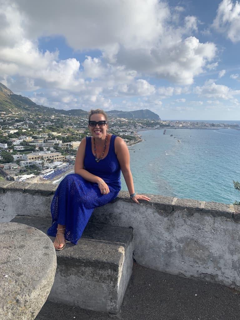 Annamaria Borelli overlooking the Adriatic Sea in Bari.