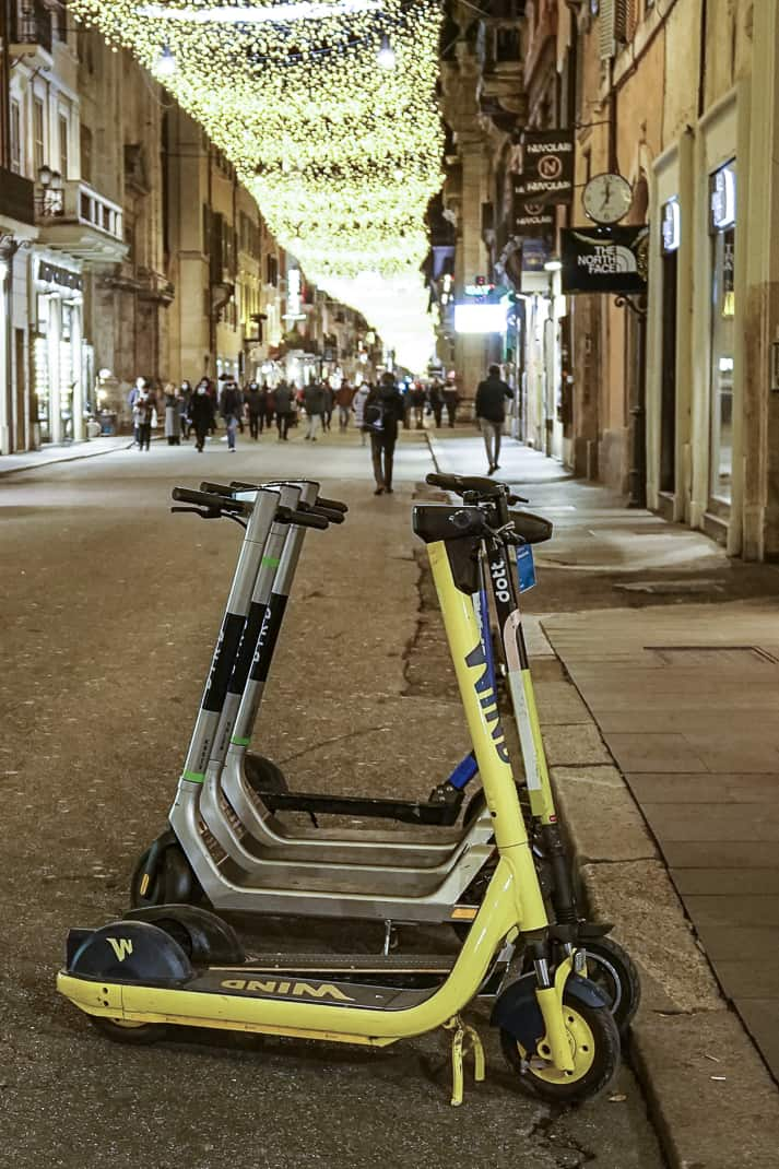 No takers for motorized scooters on Via del Corso.