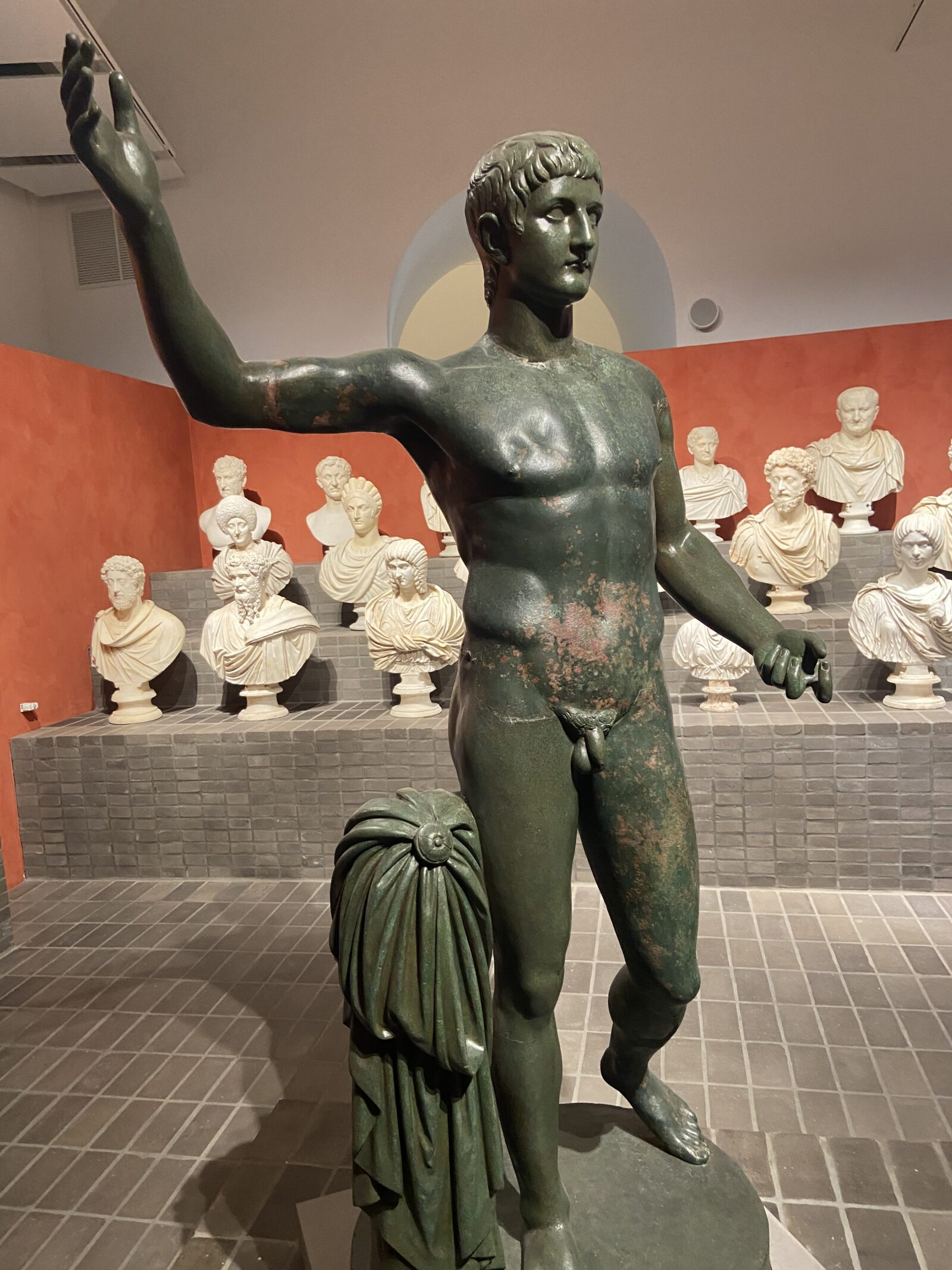 The statue of general Germanicus in the room of busts is one of the highlights of The Torlonia Marbles exhibit.