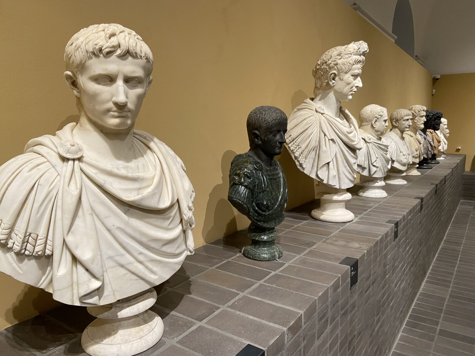 Busts of famous Ancient Romans and Greeks make up many of the 96 marble pieces.