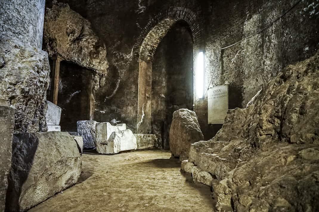 Many blocks of travertine stone had fallen from the walls.