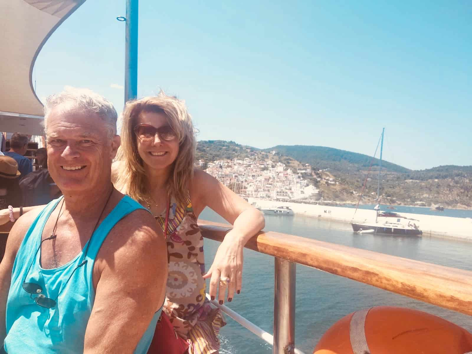 On the Greek ferry between Skiathos and Skopelos.