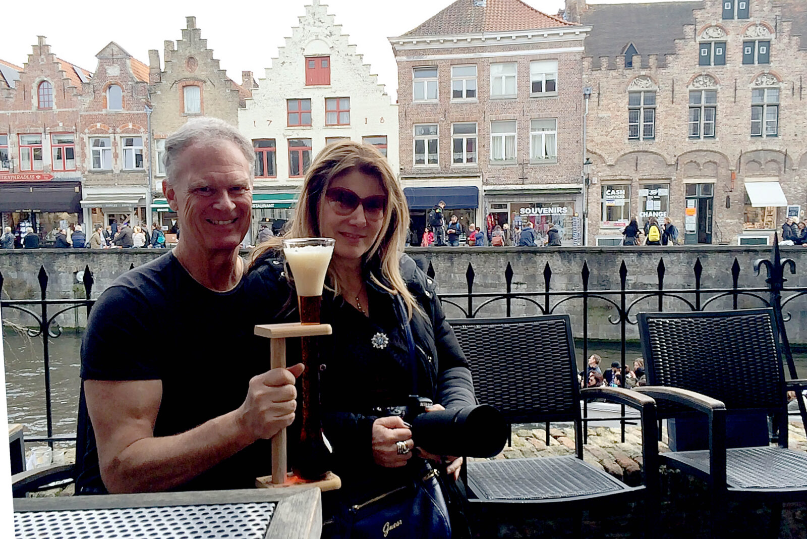 Me and Marina at 2be Beer Wall in Bruges, Belgium.