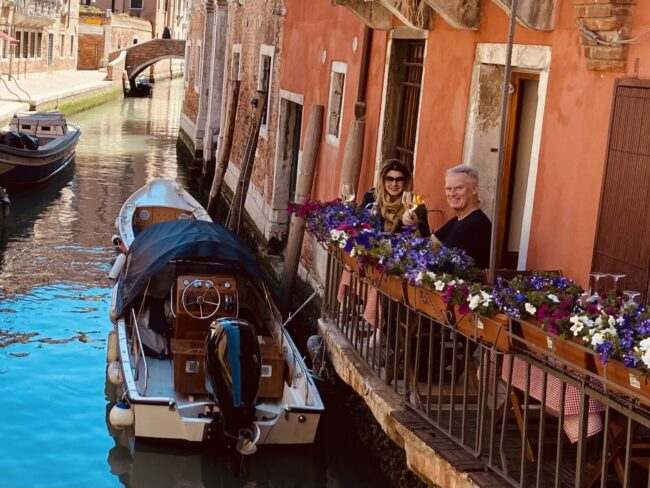 Marina and I celebrating our six-year anniversary at Trattoria Dona Onesta on one of Venice's many empty canals Monday.