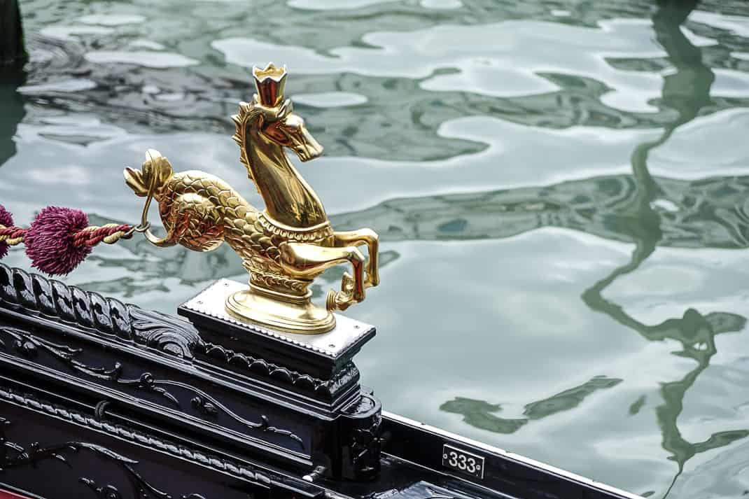 Menacing seahorses adorn the sides of gondolas.