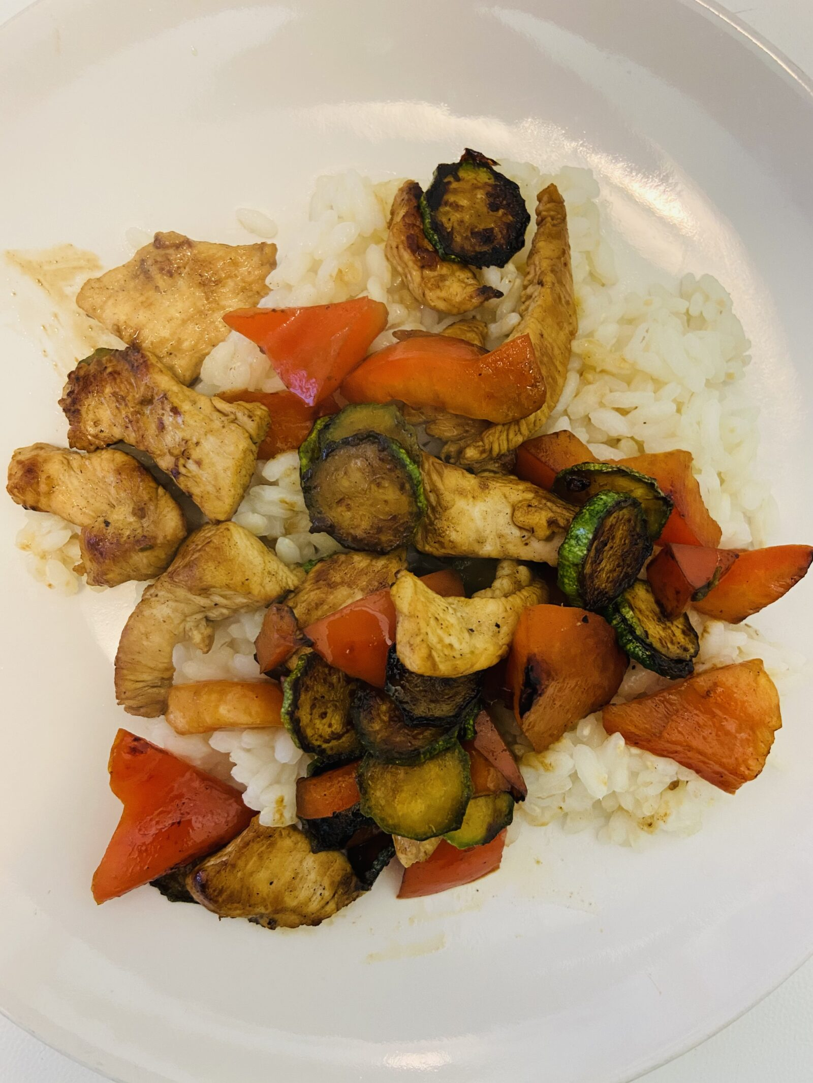 My chicken-vegetable stir fry with the Carnaroli rice I made at home was fabulous.