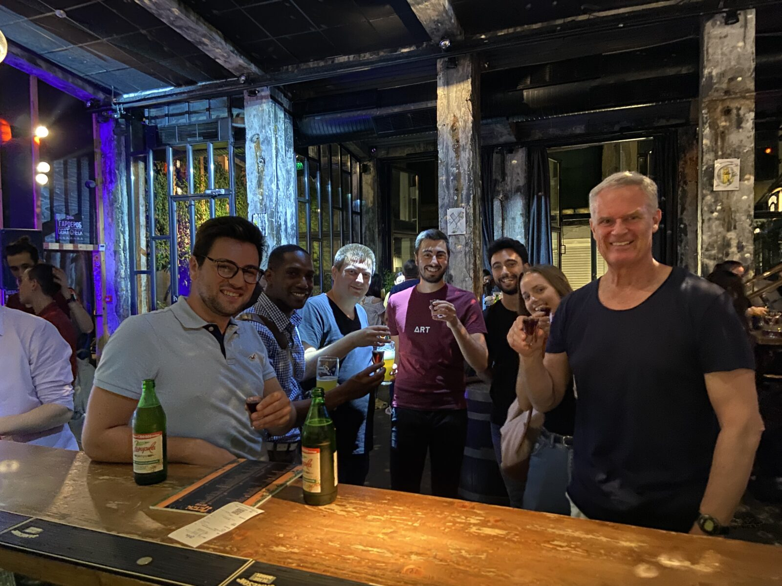 Me (far right) and guide Giovanni (third from right) at Bar Friday during the Sofia Pub Crawl.