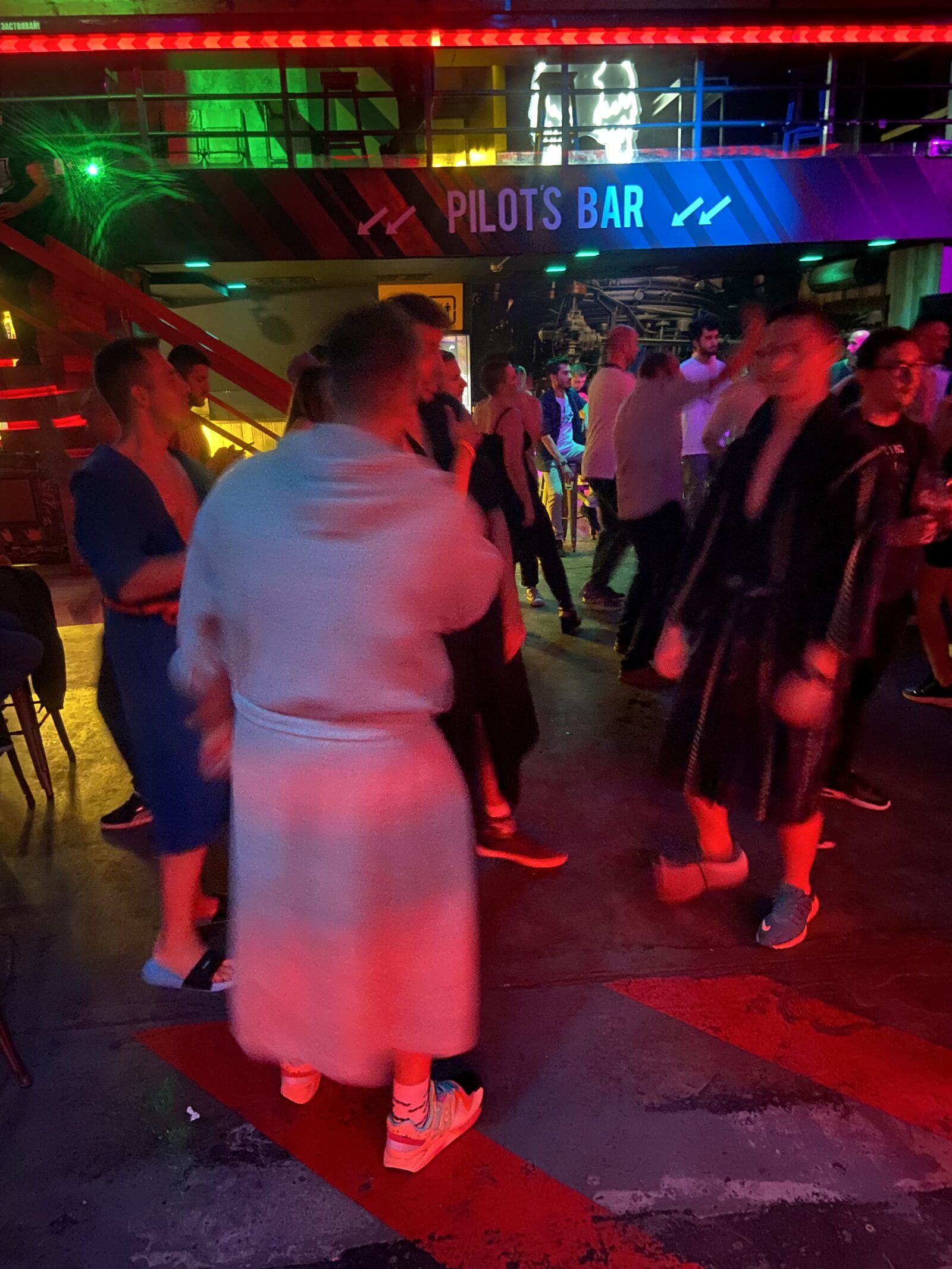 """Bulgarians in bathrobes. A """"special party"""" at Sofia's Terminal One nightclub."""