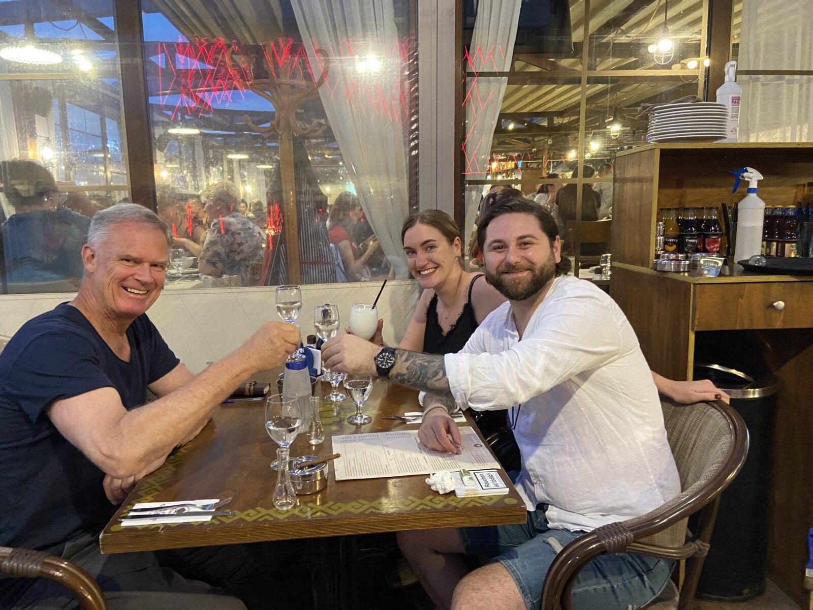 Toasting with rakia with Valentin and Sonja at Stariya Chinar in Varna.