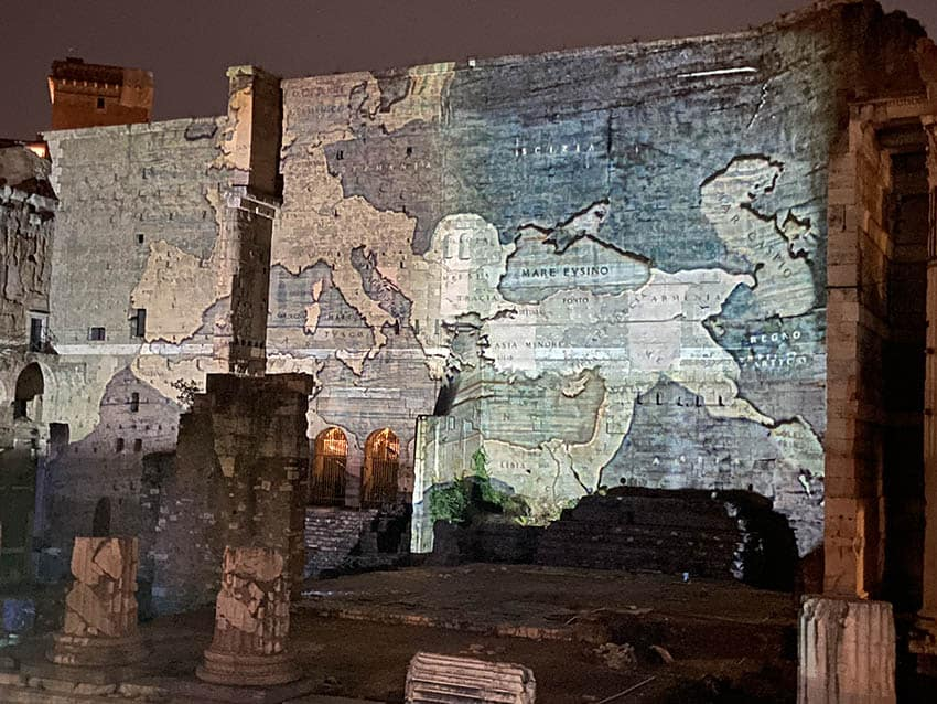 Lasers showed the map of the Roman Empire from England to what is now Iraq