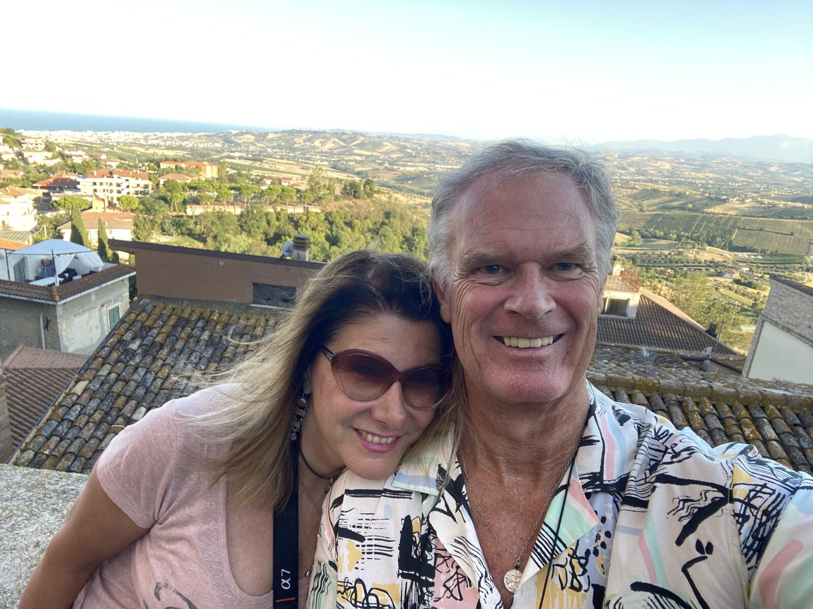 Marina and I overlooking Abruzzo and Le Marche and the Adriatic from Colonnella.