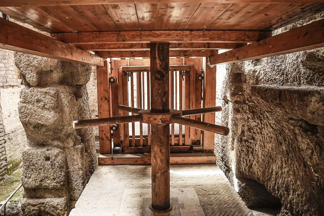 A replica of one of the many elevators that lifted animals and gladiators to the arena floor.