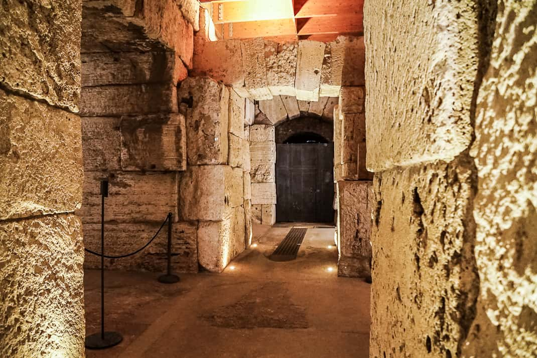 This is where the gladiators and animals were huddled before they went up to the arena floor for battles.