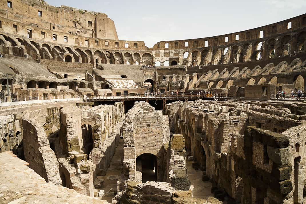 The Colosseum then and today.