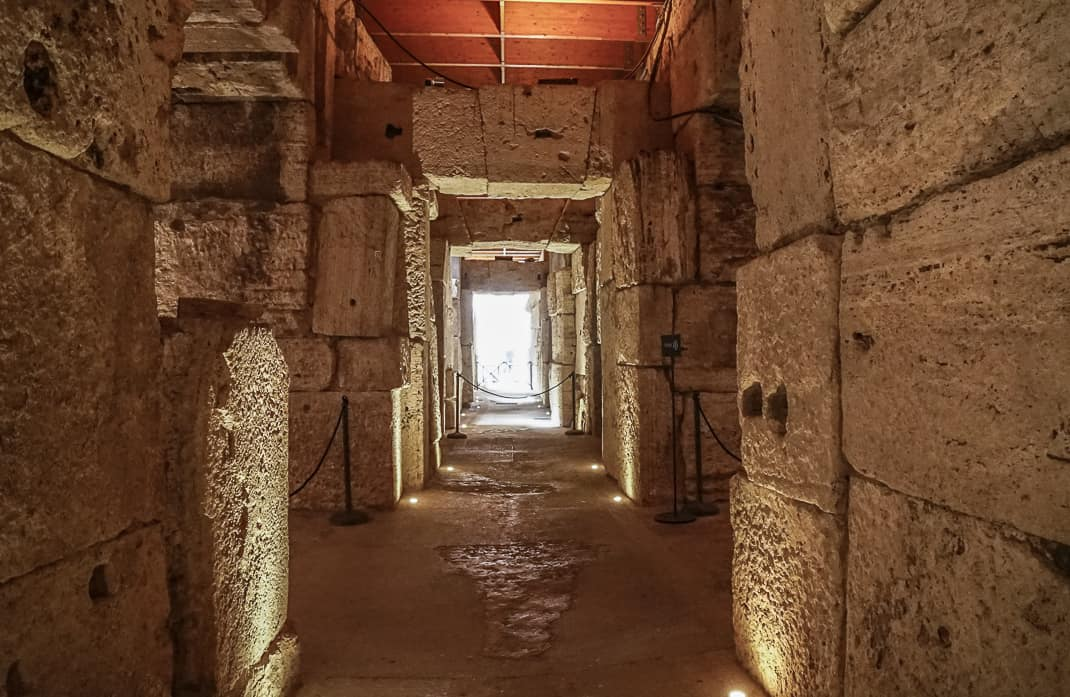 One of the many narrow passageways and corridors in the Colosseum Underground that opened June 26.