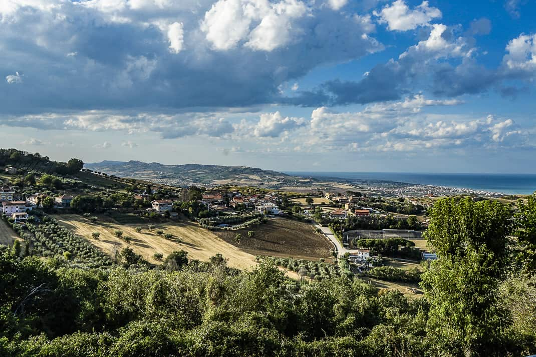 The town of Tortoreto, Abruzzo, stretches from the Adriatic Sea to nearly 800 feet above sea level.